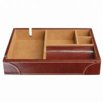 Dulwich Designs 70879 Chestnut Brown Valet Tray With Tan Lining